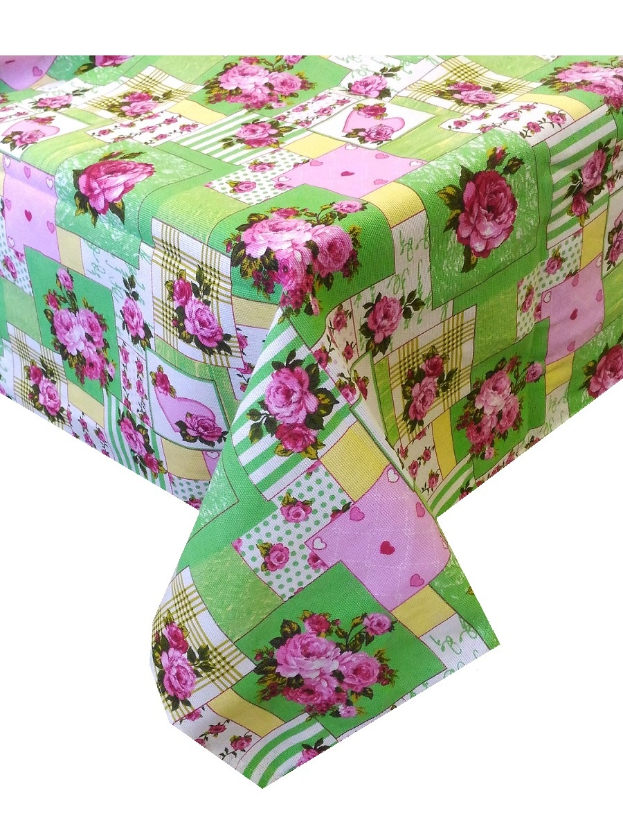 Скатерть ТК Традиция Ассорти, для интерьера, 3068/Пэчворк зел., зеленый, розовый