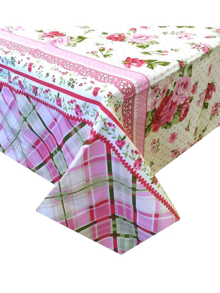 Скатерть ТК Традиция Ассорти, для интерьера, 3068/Розы, белый, светло-розовый, светло-зеленый