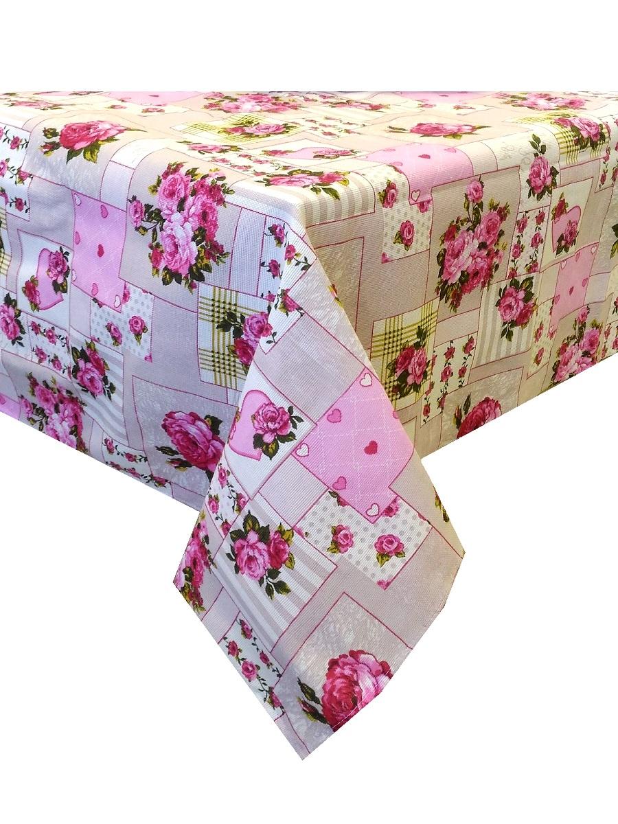 Скатерть ТК Традиция Ассорти, для интерьера, 3068/Пэчворк розов., бежевый, розовый