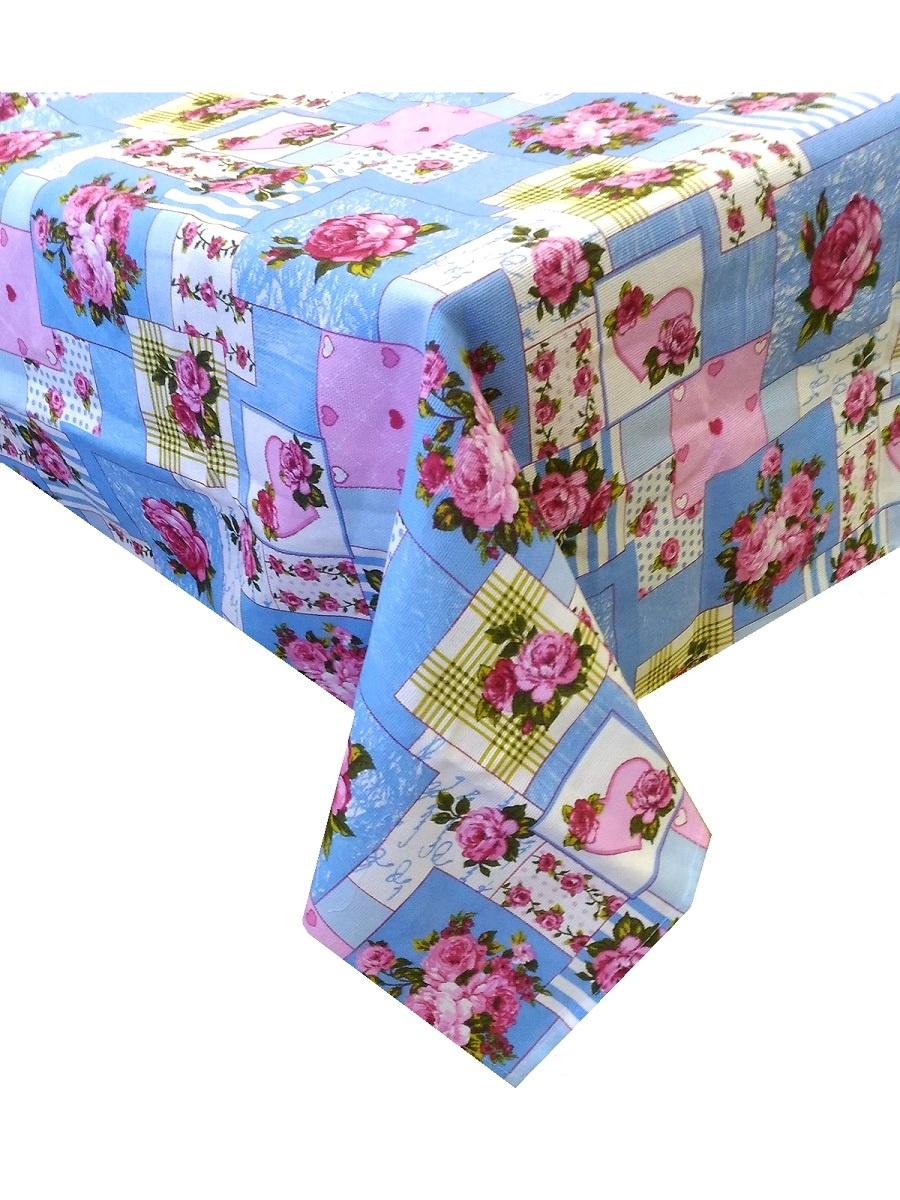 Скатерть ТК Традиция Ассорти, для интерьера, 3068/Пэчворк голуб., голубой, розовый