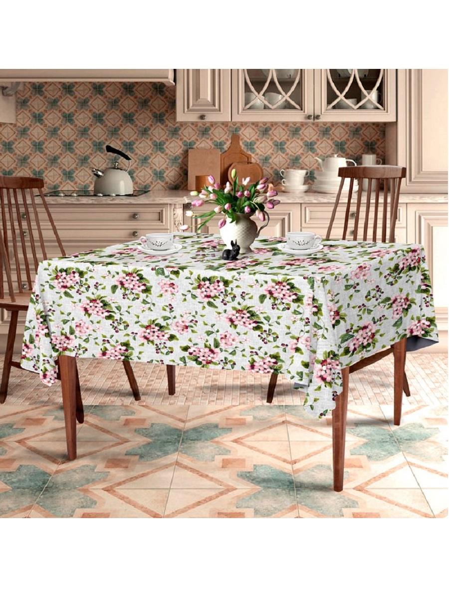 Скатерть ТК Традиция Ассорти, для интерьера, 3068/Вишневый сад, серый, светло-розовый, зеленый