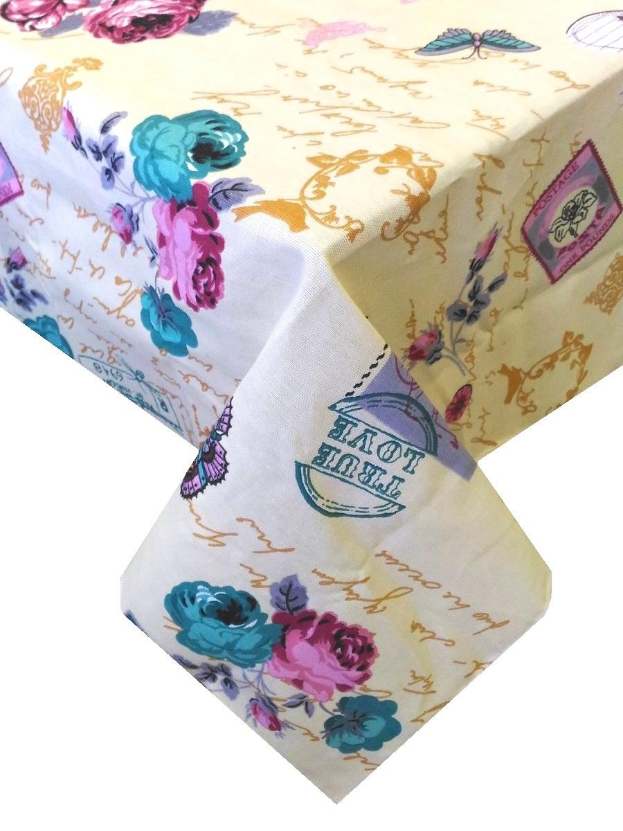 Скатерть ТК Традиция Ассорти, для интерьера, 3069/Париж ваниль, бежевый, голубой, розовый