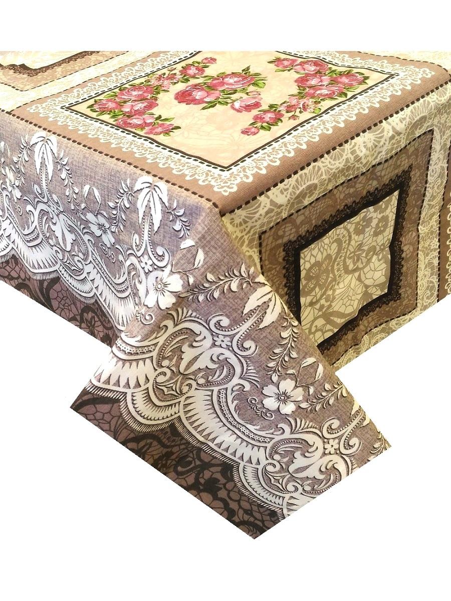 Скатерть ТК Традиция Ассорти, для интерьера, 3069/Нежная сказка, коричневый, розовый, светло-коричневый