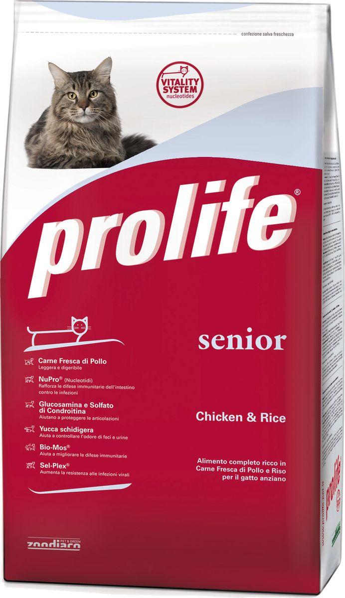 Корм сухой Prolife для пожилых кошек, курица, рис, 400 г