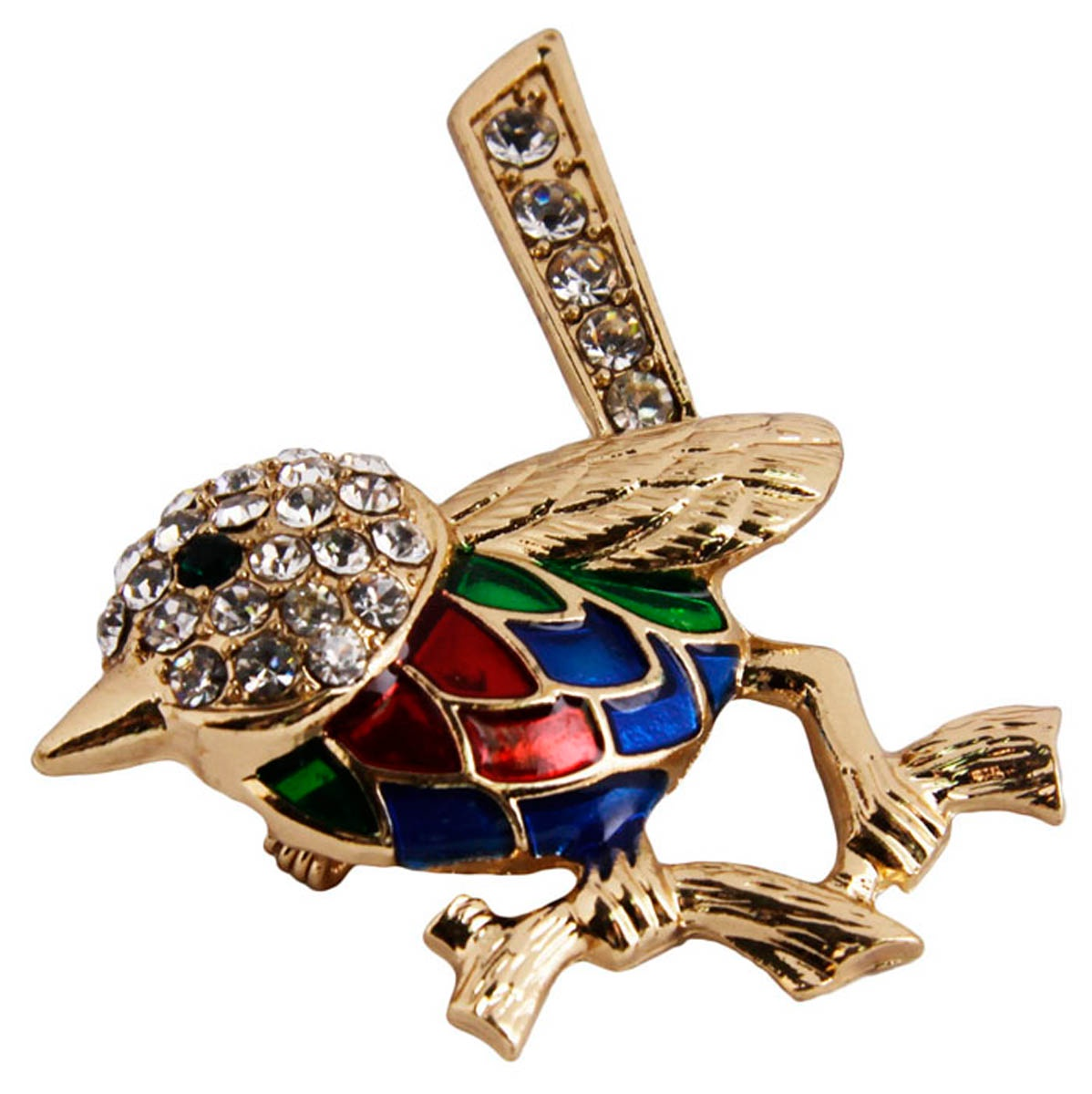 Брошь бижутерная Антик Хобби Птица, Эмаль, Австрийские кристаллы, 4, 4.5, 2 см, ОС30406, золотой, синий, красный брошь птица