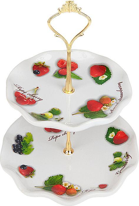 Блюдо для фруктов Polystar Садовая ягода, L2520261, белый, 25 х 25 х 24 см блюдо для фруктов 2 х ярусная polystar collection садовая ягода l2520261