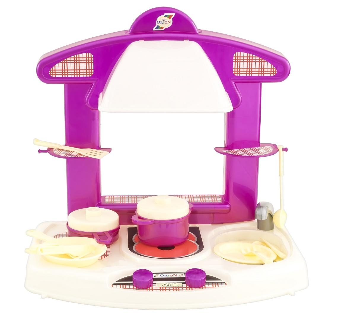 Сюжетно-ролевые игрушки ORION TOYS Кухня 327 с набором посуды розовый, белый