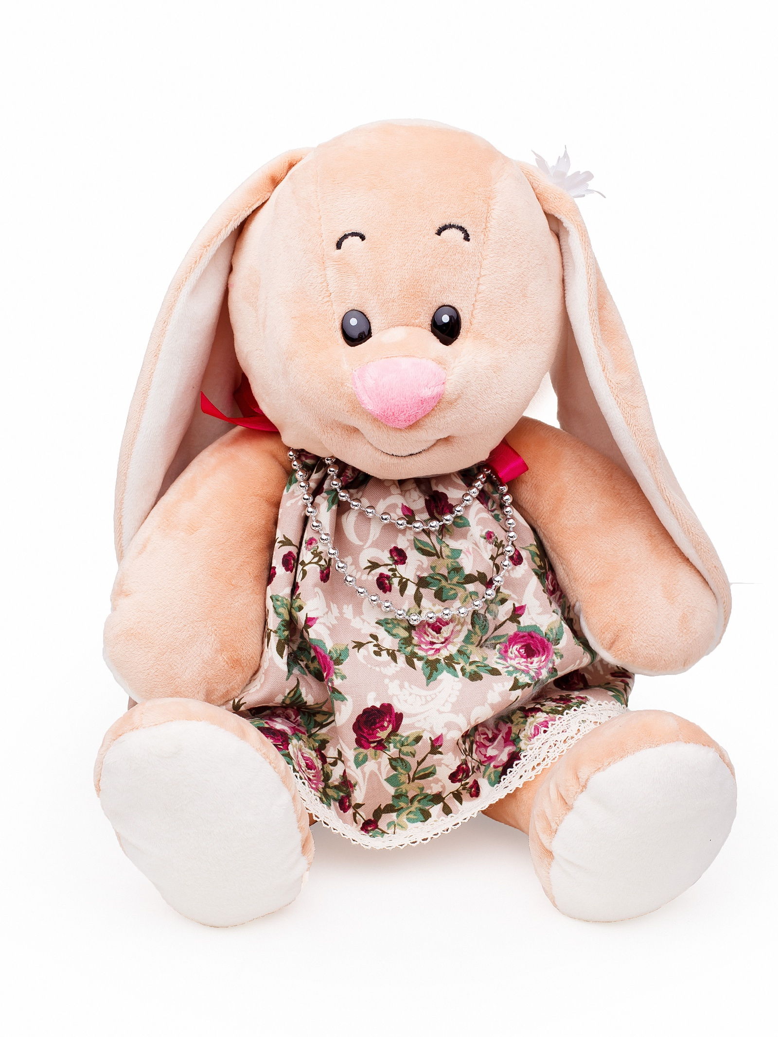Мягкая игрушка Смолтойс Зайка Ляля В40 в платье на завязках в цветочек, 2466/БЖ-2/40 бежевый