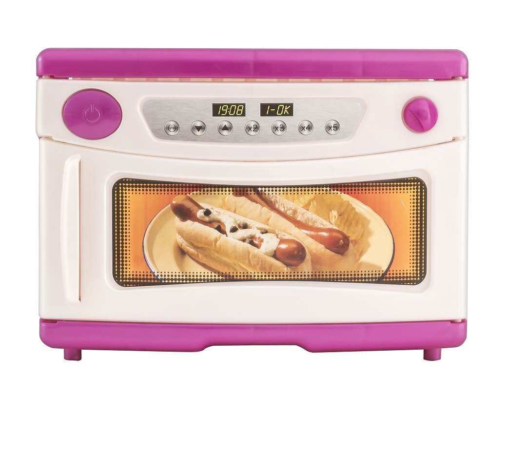 цена на Сюжетно-ролевые игрушки ORION TOYS Микроволновая печь 846 с набором посуды розовый, белый