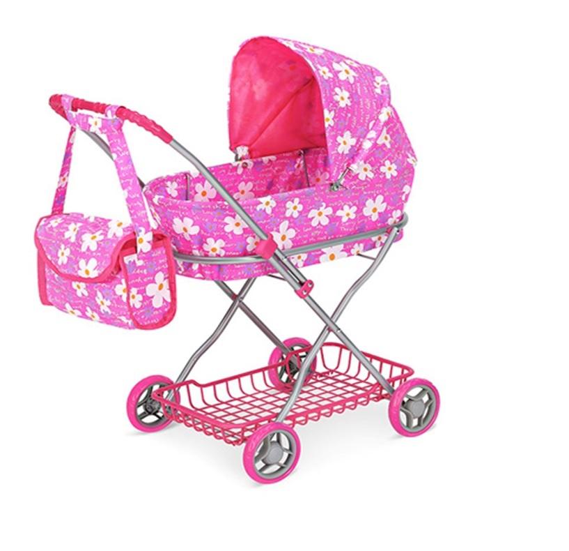 коляска для кукол 9325 коляска металлическая с сумкой и сеткой розовый цены