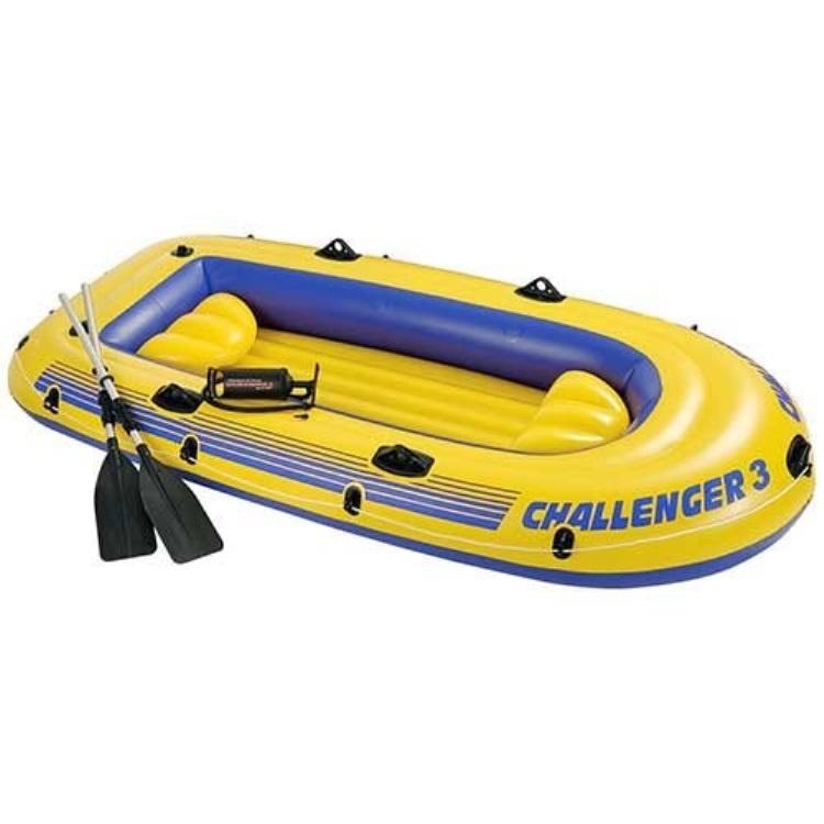 Надувная лодка Intex 68370 трёхместная Челенджер, желтый