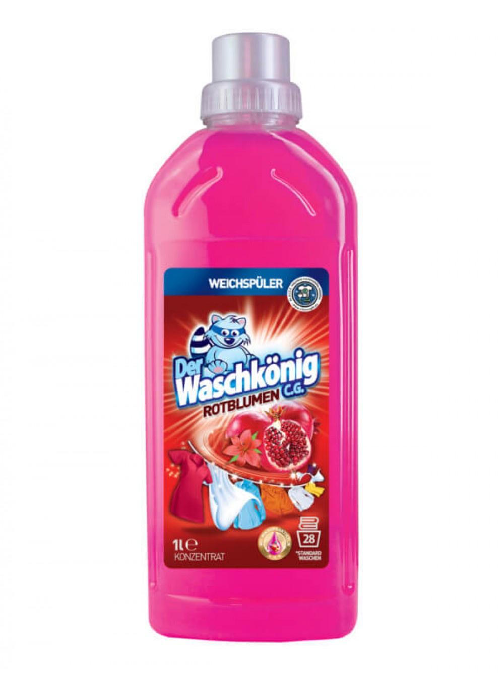 Кондиционер, ополаскиватель Der Waschkonig C.G. аромат спелого граната4260353550393Смягчитель кондиционер для тканей Der Waschk?nig rotblumen (Гранат) 1000 мл обеспечивает одежду тонким запахом граната.Эффект антистатикаОблегчает глажкуФруктовый запах гарантаСделано в Европе