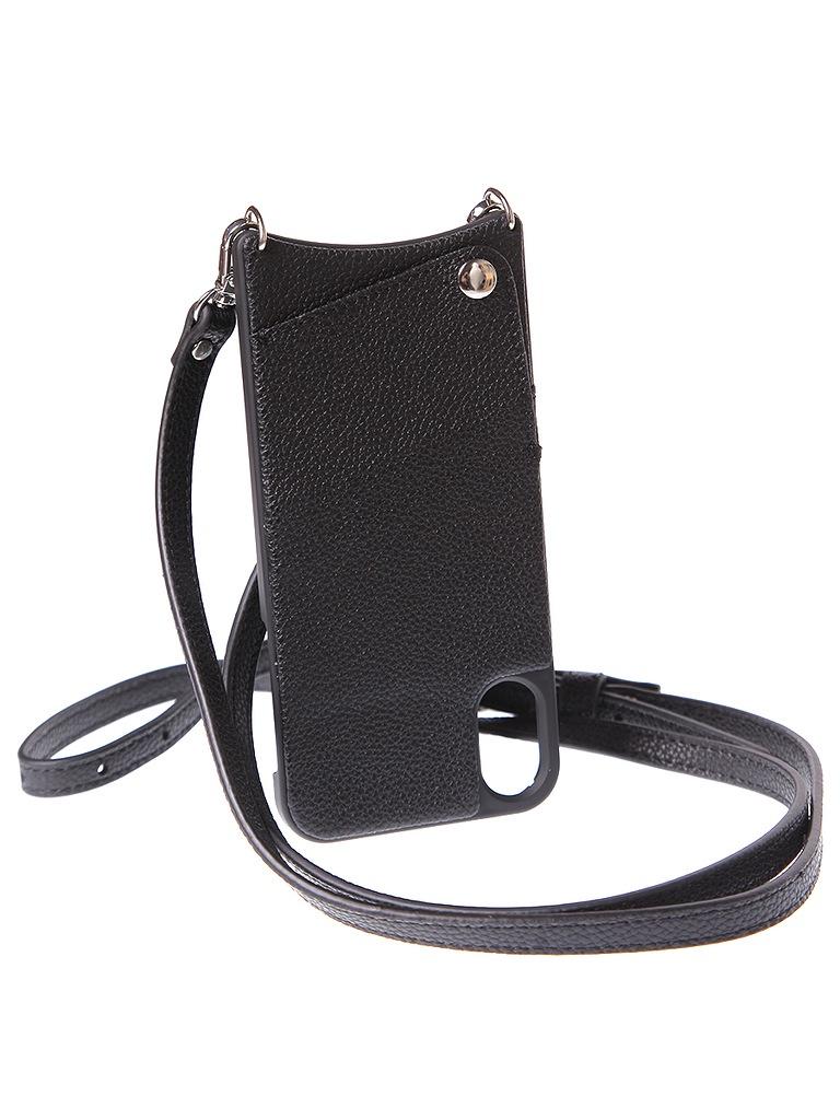 Чехол для сотового телефона Cvaly Чехол кожаный для iPhone X/XS, 03 L BK, черный