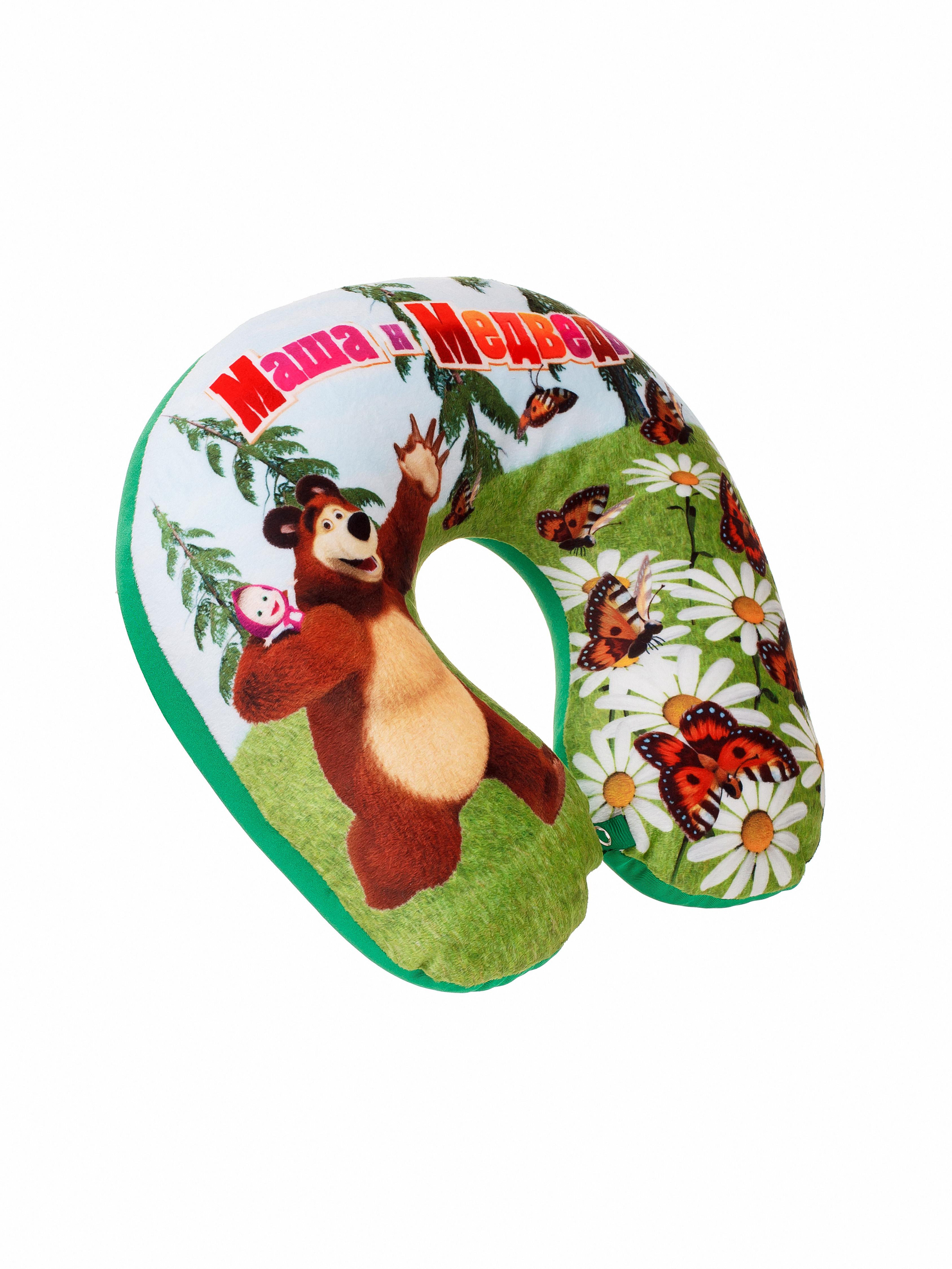 Мягкая игрушка СмолТойс Игрушка-подушка Наплечник Маша и Медведь В29 зеленый