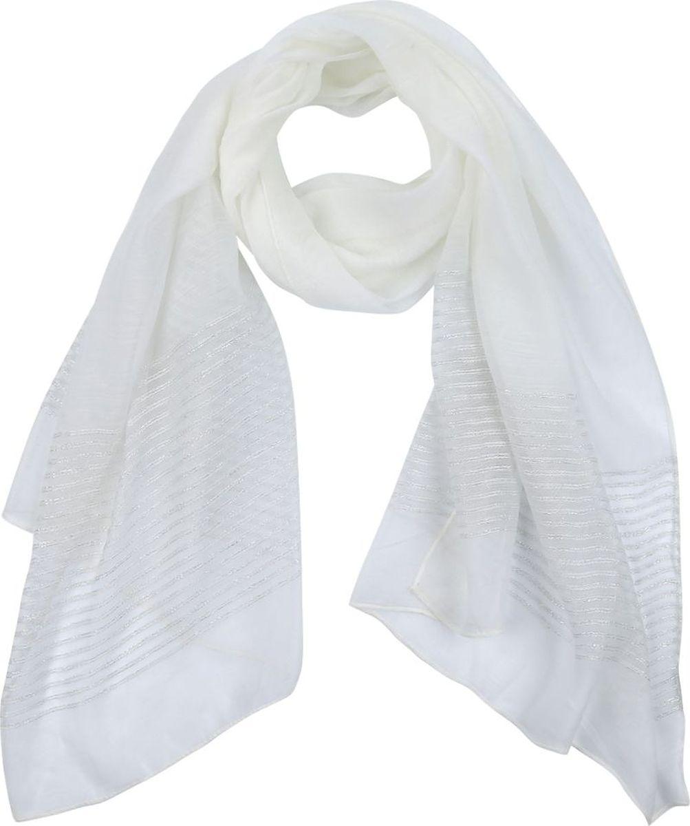 Шарф женский Fabretti, цвет: белый. QF005-3. Размер 190 см х 70 см шарф женский sophie ramage цвет синий розовый зеленый yy 21402 3 размер 60 см х 180 см