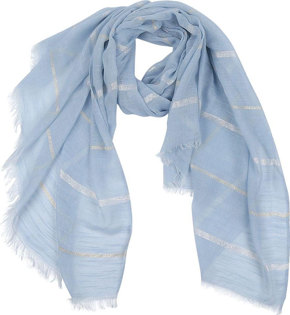 Шарф женский Fabretti, цвет: голубой. 63103-2. Размер 180 см х 90 см шарф женский sophie ramage цвет синий розовый зеленый yy 21402 3 размер 60 см х 180 см