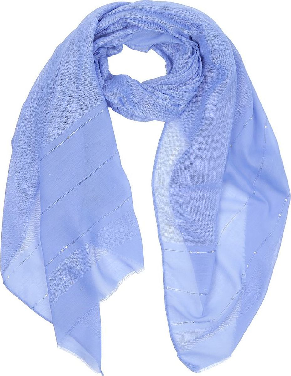 Шарф женский Fabretti, цвет: голубой. WJ257-1. Размер 180 см х 90 см шарф женский sophie ramage цвет синий розовый зеленый yy 21402 3 размер 60 см х 180 см
