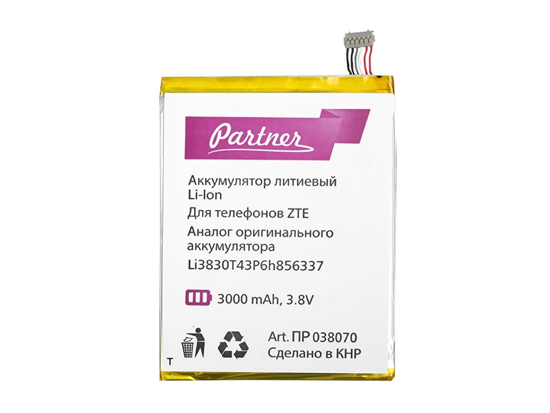 Аккумулятор для телефона PARTNER ZTE Blade S6, N939ST V5 Pro, V3 Youth (Li3830T43P6h856337, CS-ZTS600SL) 3000 mAh, ПР038070 аксессуар аккумулятор infinity zte v860 roamer 1700 mah li3715t42p3h415266