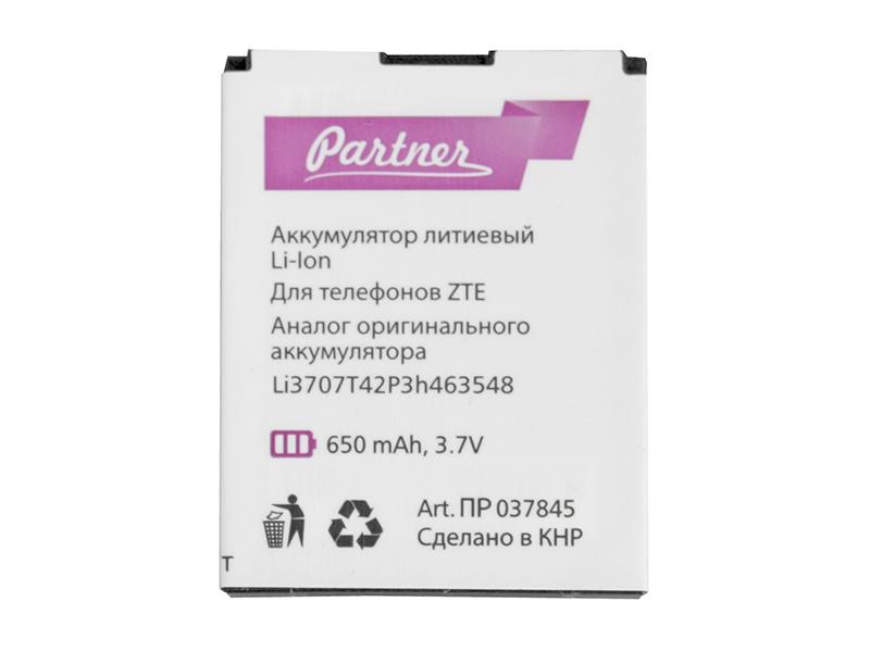 Аккумулятор для телефона PARTNER ZTE R233 (G R233), МТС 535 (LI3707T42H3h463548, LI3707T42P3h463548, LI3708T42P3h463548 , CS-ZTG600SL) 650 mAh, ПР037845 стоимость