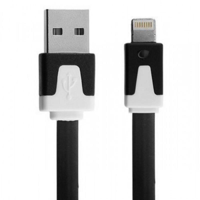 Кабель red line плоский USB-8-pin, УТ000010105, черный, белый red line zync alloy black кабель usb lightning 1 м