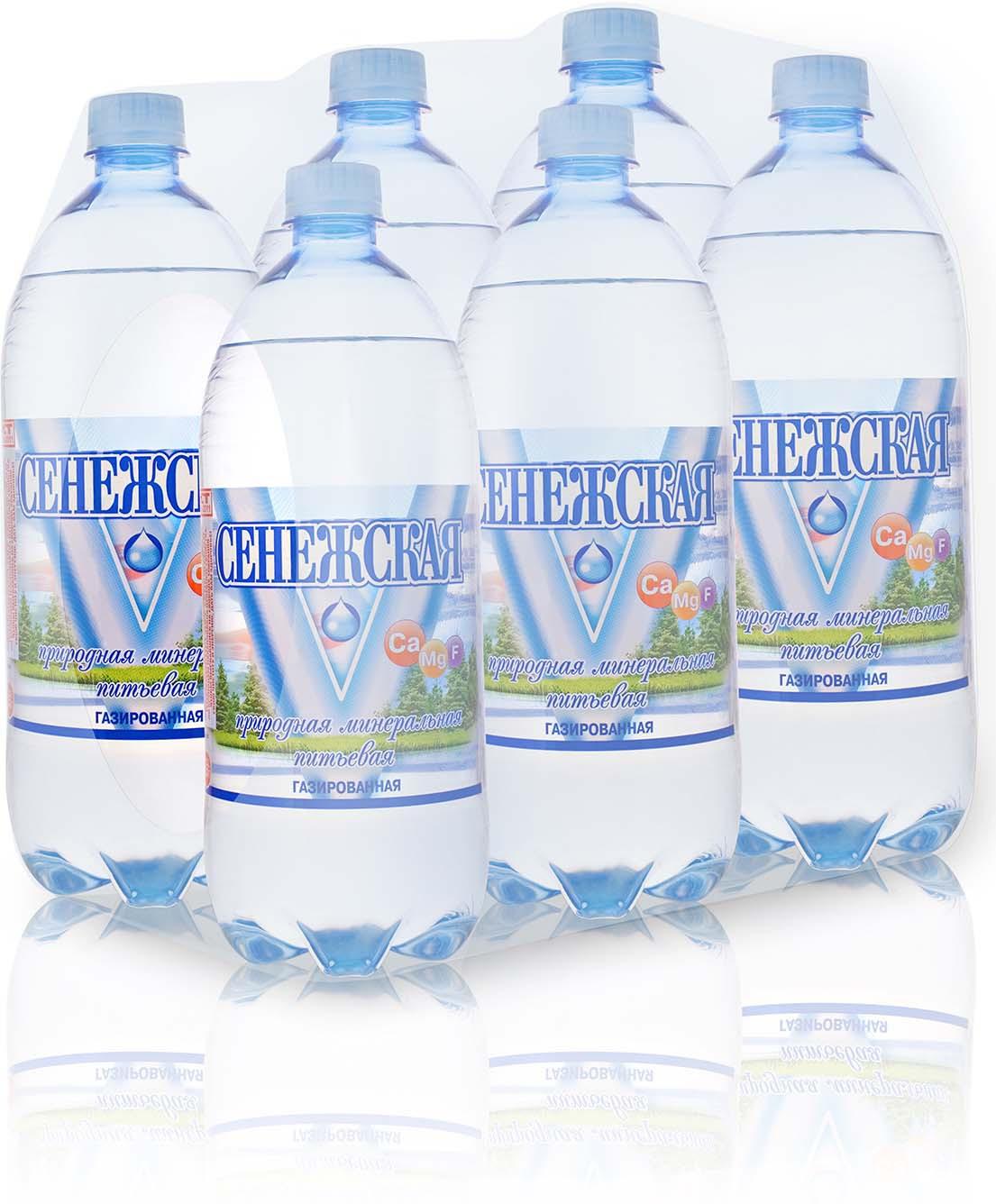 Вода Сенежская, газированная, 6 шт по 1 л