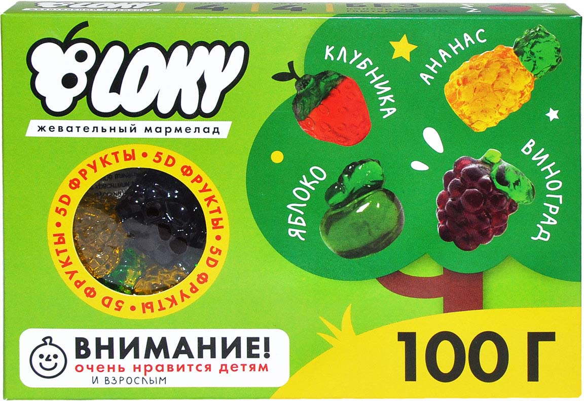 Жевательный мармелад B-loky Фрукты, 100 г победа вкуса шмелькино брюшко микс жевательный мармелад 250 г