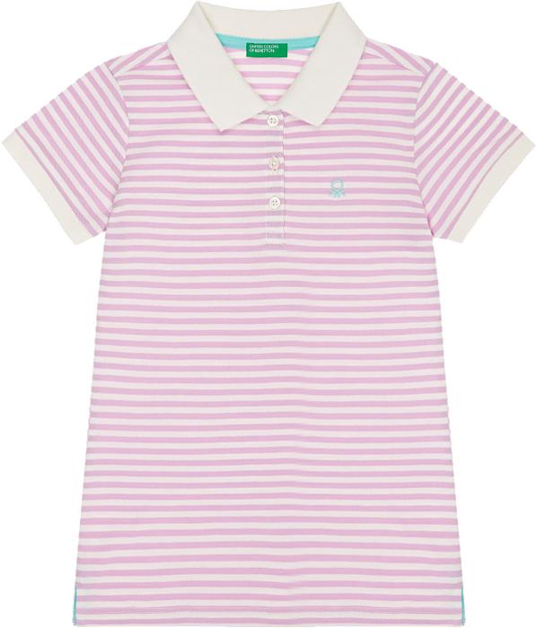 Поло для девочки United Colors of Benetton, цвет: сиреневый. 3ARTC3110_74G. Размер XL (150)3ARTC3110_74G