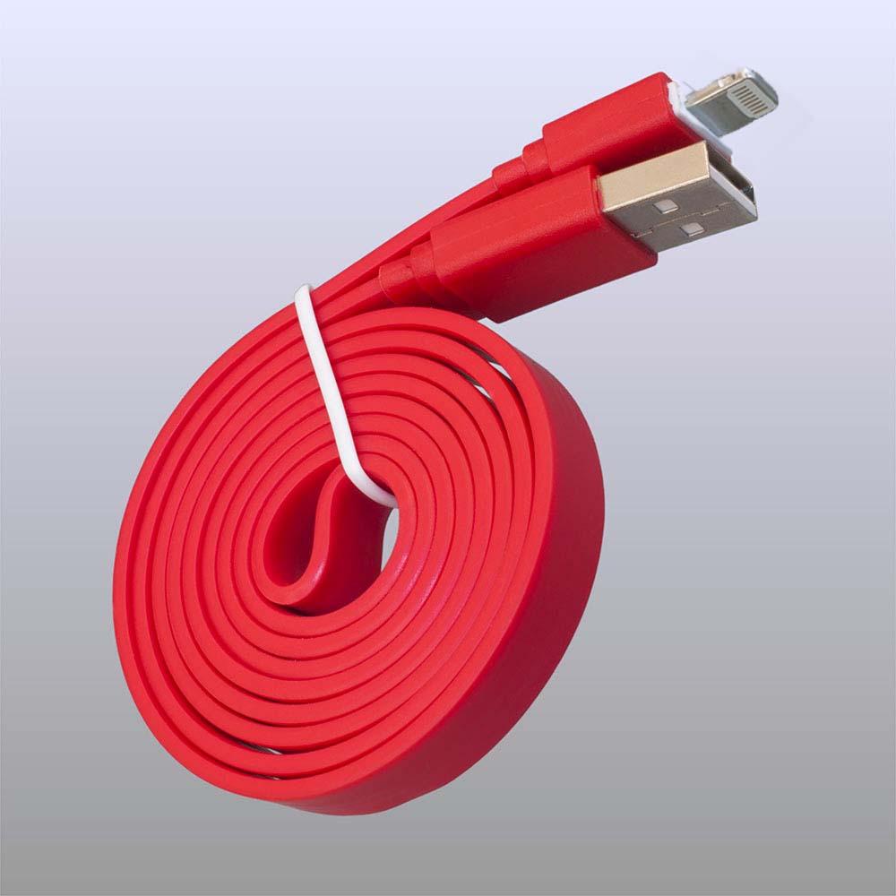 Кабель Pro Legend плоский для iPhone 5, 6s, 8 pin, PL1362, красный, 1 м