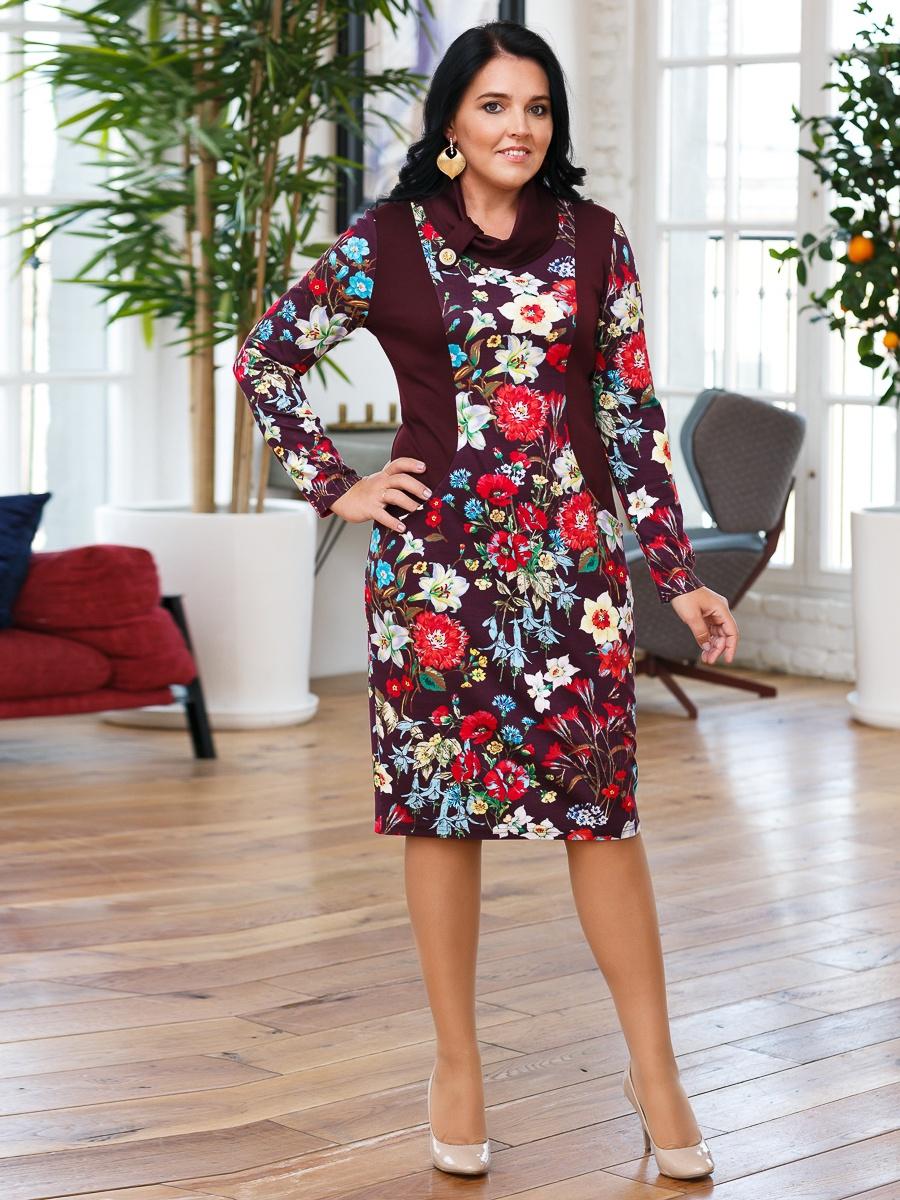 """Платье Lavira OZ01151, фиолетовый 60 размерOZ01151Платье """"Герда"""" необычайно стройнит за счет вставок, которые плавно повторяют контуры тела. Материал: плотный трикотаж."""
