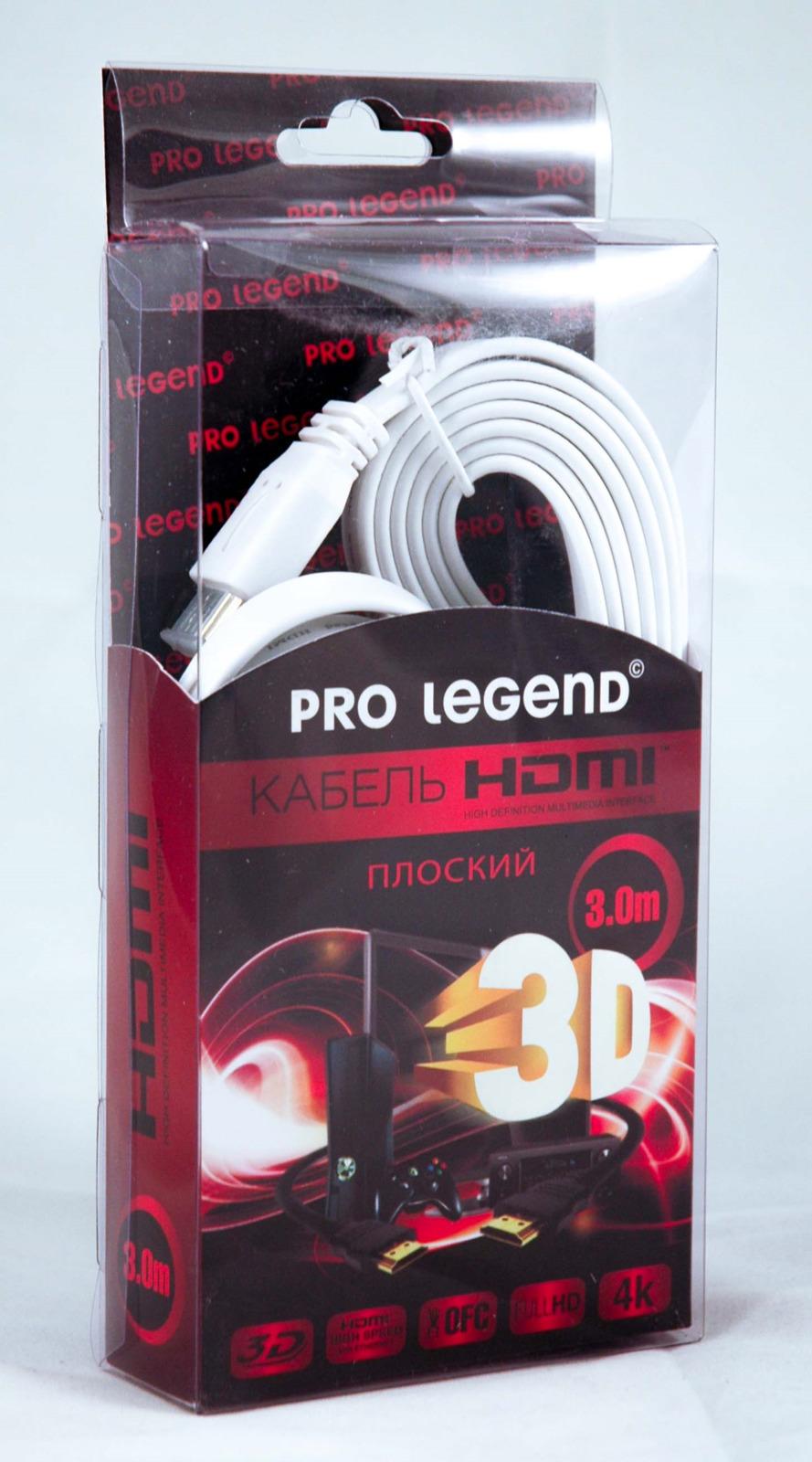 Фото - Кабель Pro Legend HDMI (M) - HDMI (M), HDF3, ver. 1.4, плоский, HDF3, черный, 3 м видео