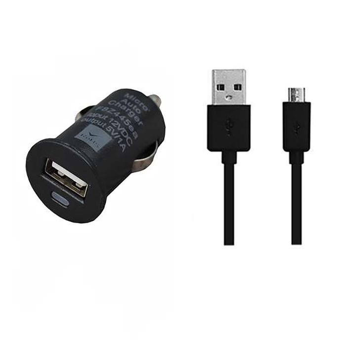 Автомобильное зарядное устройство Mobiledata АЗУ 1000mA USB + microUSB кабель, черный цена и фото