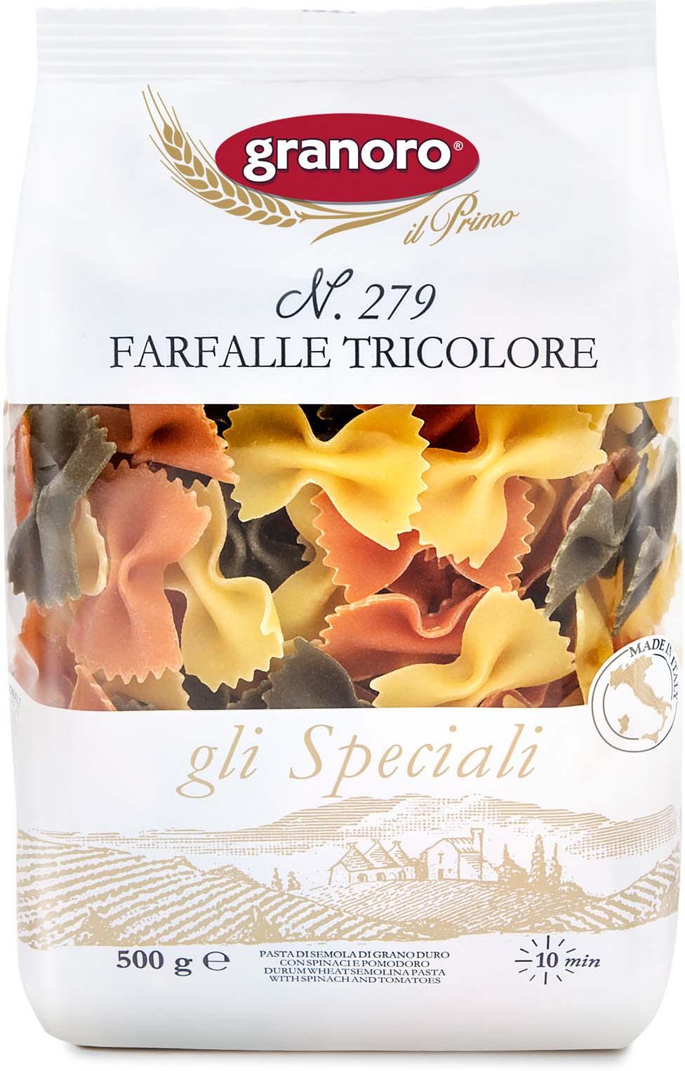 Макароны GranOro Фарфалле Триколори №279, 500 г