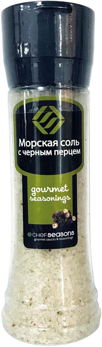 Соль пищевая Chef Seasons морская с черным перцем с мельницей, 350 г цена