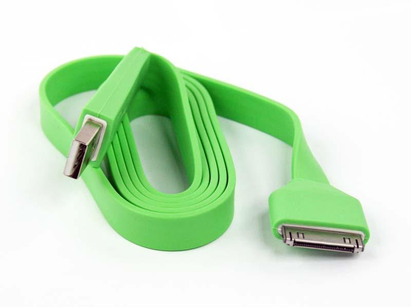 где купить Кабель Pro Legend плоский для iPhone 4, 30 pin, PL1348, зеленый, 1 м дешево
