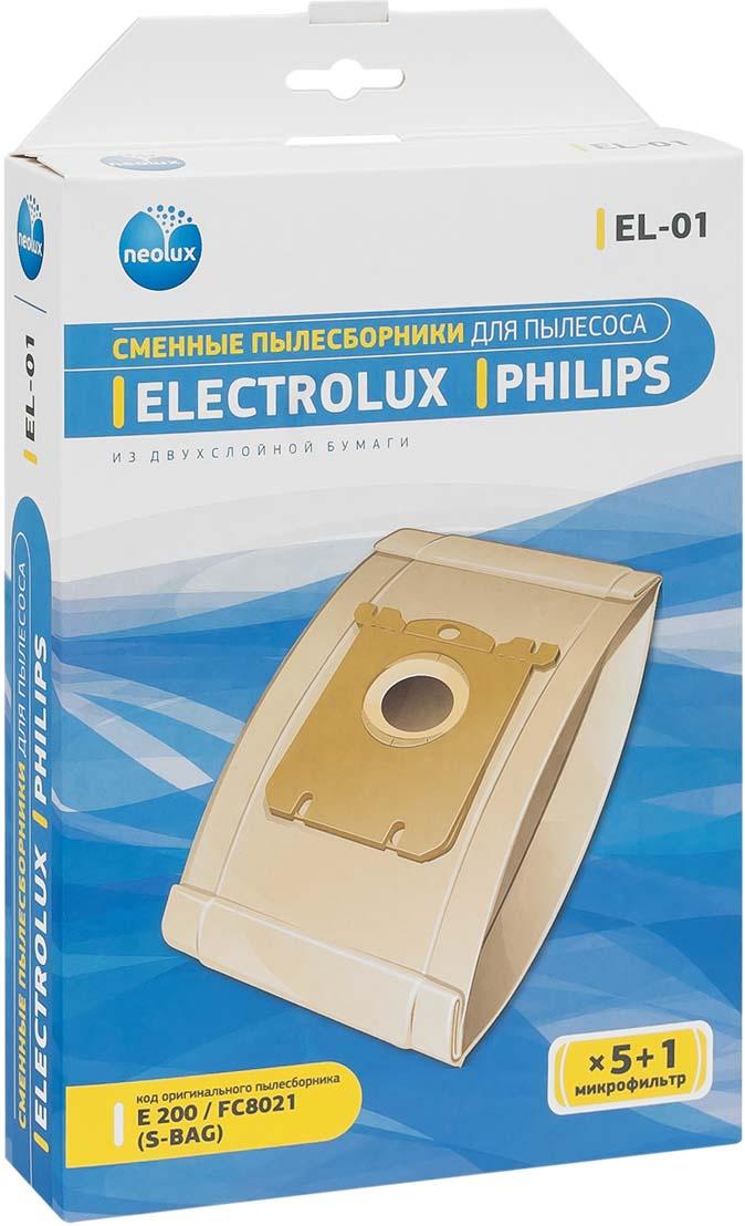 Neolux EL-01 бумажный пылесборник (5 шт) + микрофильтр neolux hpl 81 набор фильтров для пылесосов philips easylife 2 шт