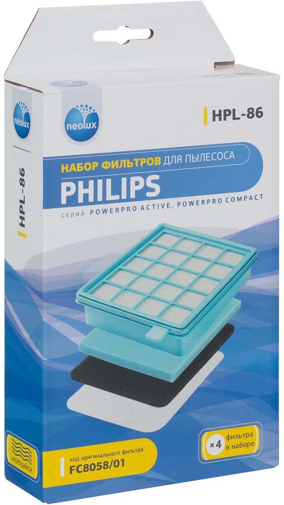 Набор фильтров Neolux HPL-86 для пылесоса Philips, 4 шт фильтр philips fc 8070 01