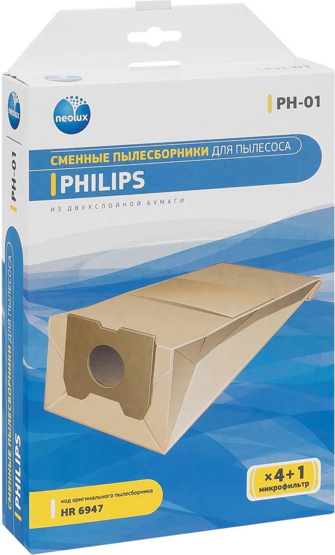 Neolux PH-01 бумажный пылесборник (4 шт) + микрофильтр цена и фото