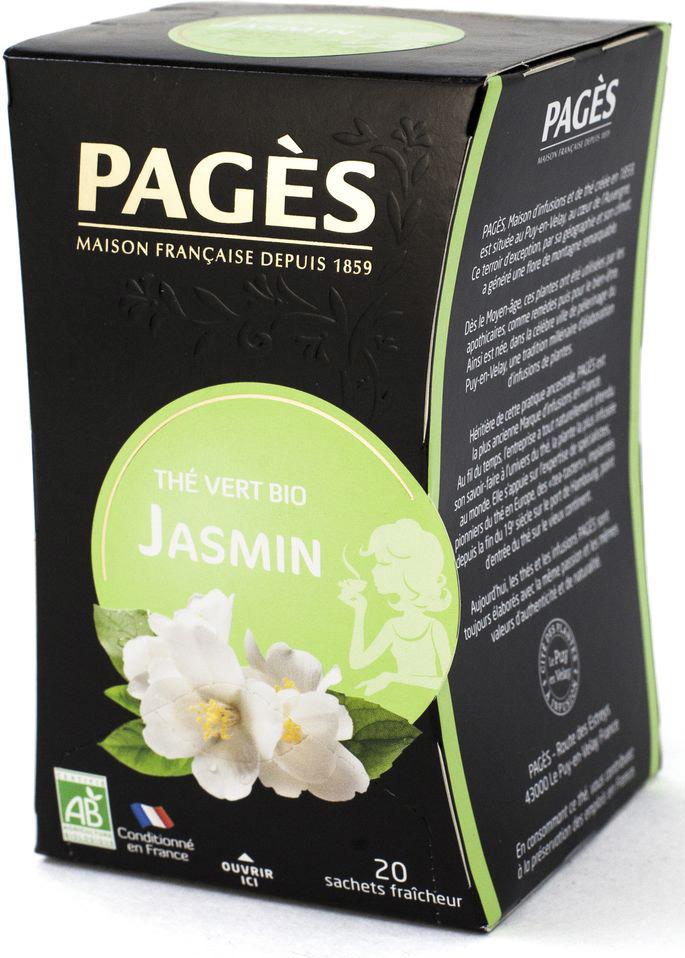 Чай зеленый Pages Био, жасмин, 20 пакетиков соннентор чай проказник херувим ассорти попробуй 20 пакетиков