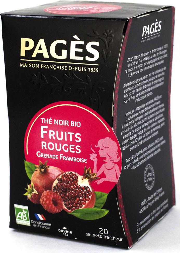 Чай черный Pages Красные фрукты, малина, гранат, 20 пакетиков соннентор чай проказник херувим ассорти попробуй 20 пакетиков