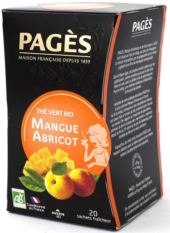 Чай зеленый Pages Био, манго, абрикос, 20 пакетиков соннентор чай проказник херувим ассорти попробуй 20 пакетиков