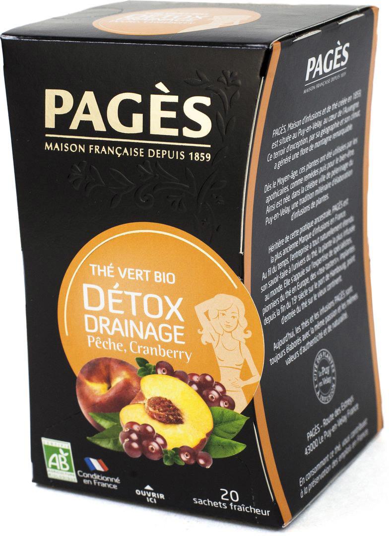 Чай зеленый Pages Детокс дренаж, персик, клюква, 20 пакетиков соннентор чай проказник херувим ассорти попробуй 20 пакетиков