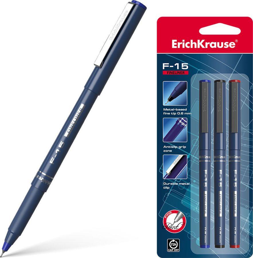 Ручка капиллярная Erich Krause F-15, 37176, цвет чернил: красный
