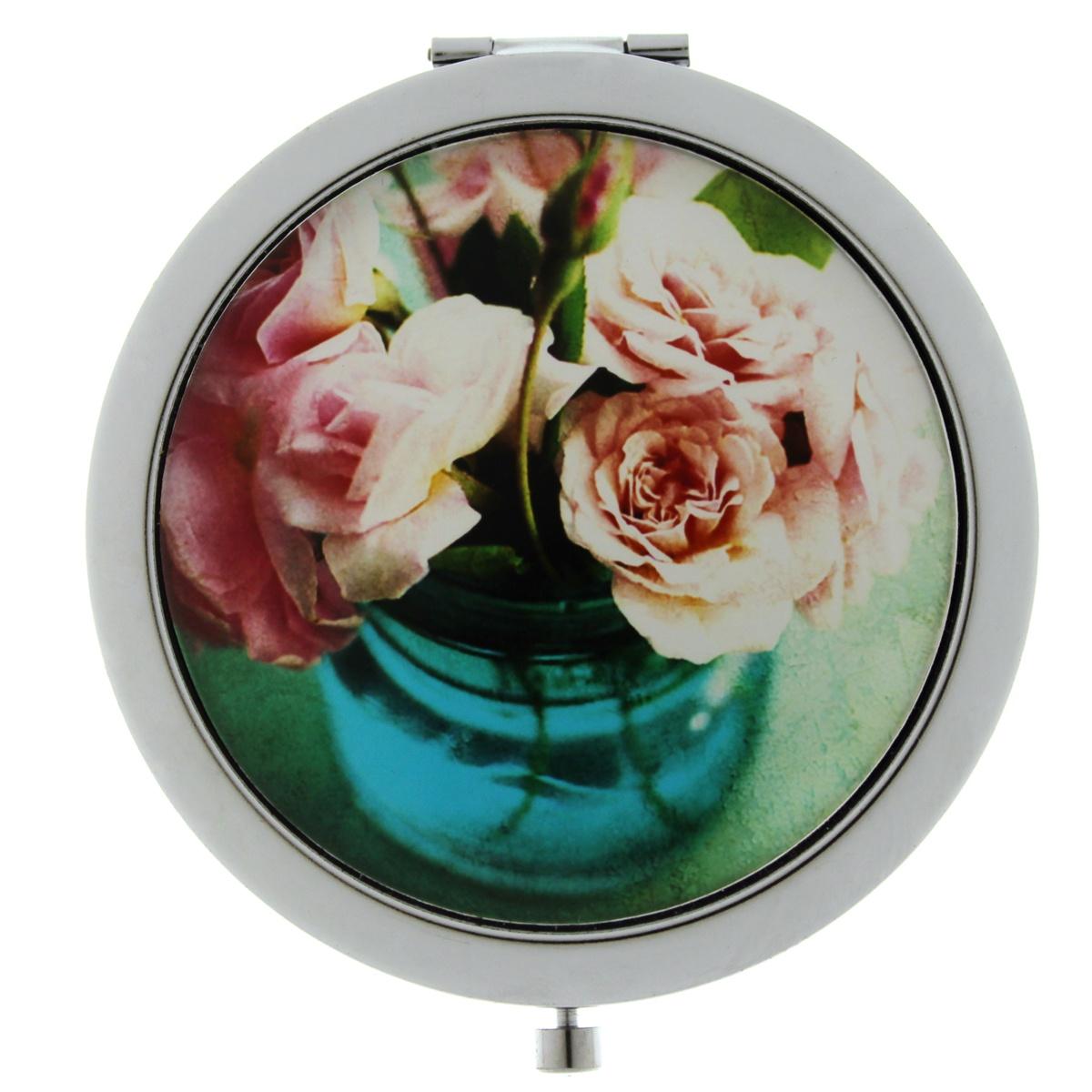 Зеркало карманное TINA BOLOTINA Розы, DZ-060, розовый, бирюзовый зеркало с ручкой увеличивающее 1560 titania