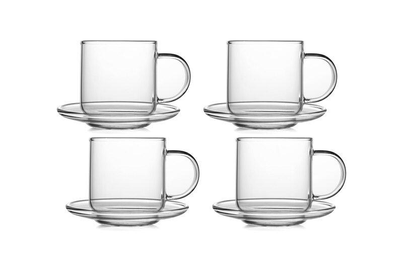 """Набор кофейный CnGlass Чайная пара """"Лотос"""", 120 мл, 4шт, набор, TZ07003, Стекло"""