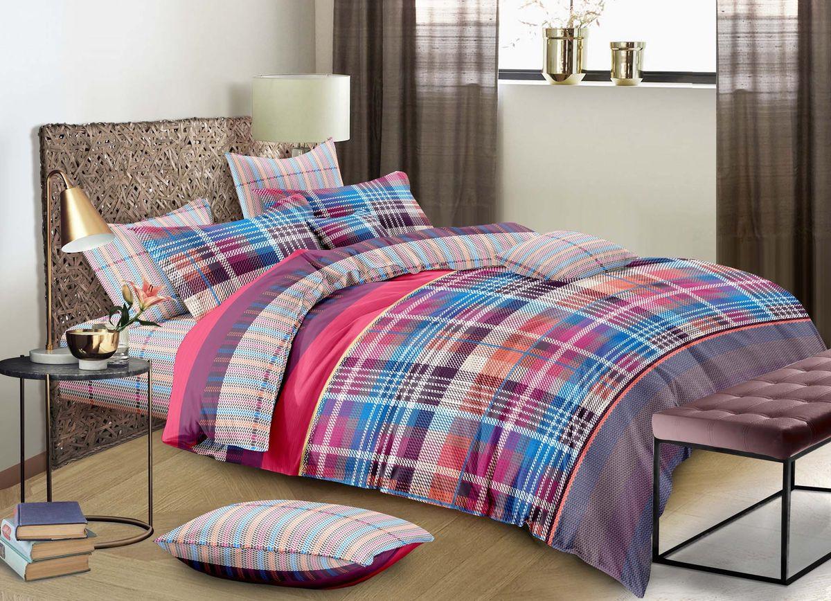 Комплект белья Buenas Noches City Cannes, 7376, розовый, синий, коричневый, 2-спальный, наволочки 50x70, 70x70