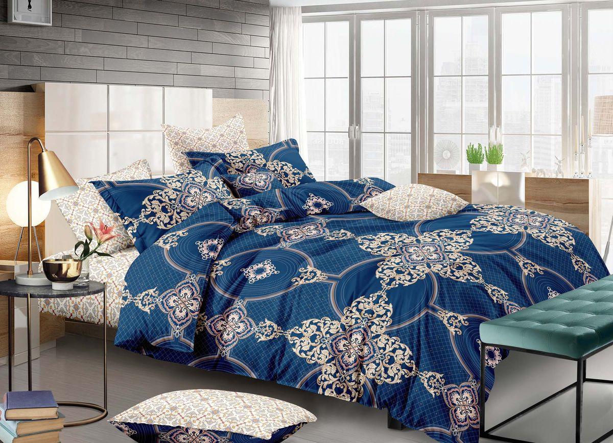 Комплект белья Buenas Noches City Berne, 7377, синий, коричневый, 2-спальный, наволочки 50x70, 70x70