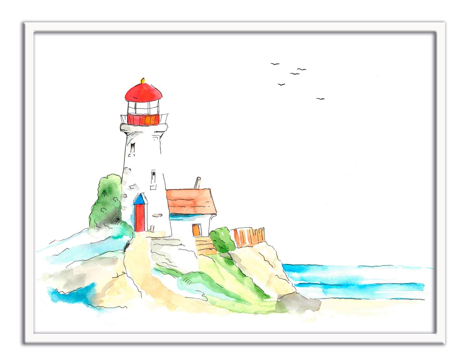 Картина The White Garden TVER Маяк, белый, красныйTWG69R11V06Авторская картина Маяк выполнена вручную акварельными красками, оформлена в белую рамку со стеклом. Стильная и необычная картина впишется в любой интерьер.