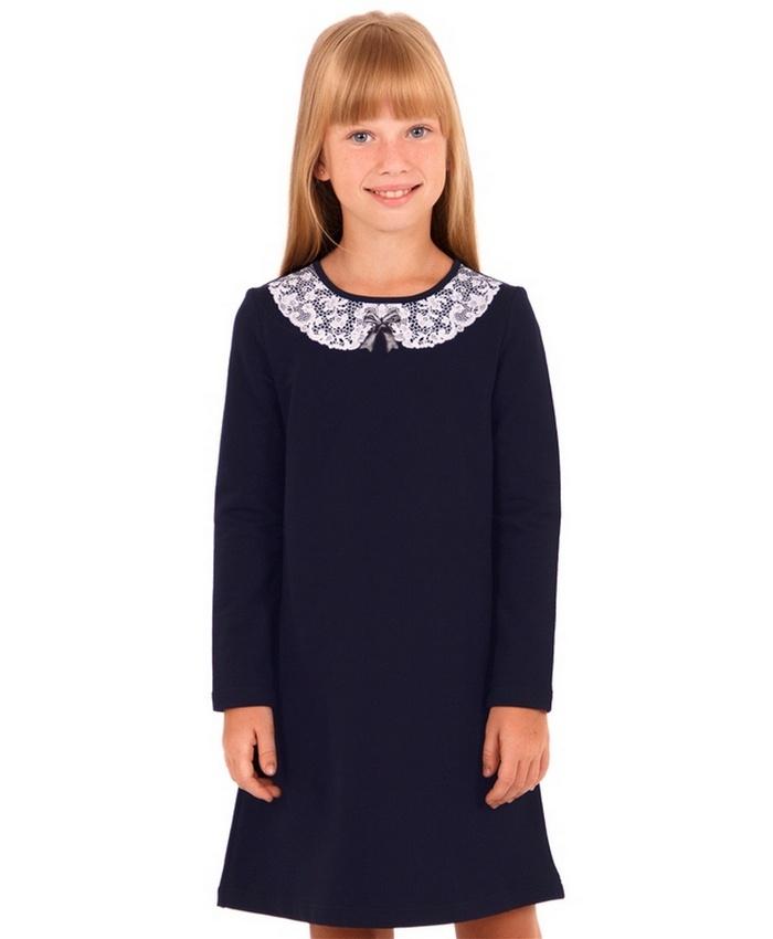 Платье Апрель 4640036085884, темно-синий, рост 116, размер 604640036085884Платье для девочки выполнено из эластичного хлопкового полотна. Изделие с длинными рукавами, сзади застегивается на пуговицу, украшено печатью имитирующей кружево. Отличный наряд для маленьких принцесс! Рекомендуется машинная стирка при температуре 40 градусов без предварительного замачивания.