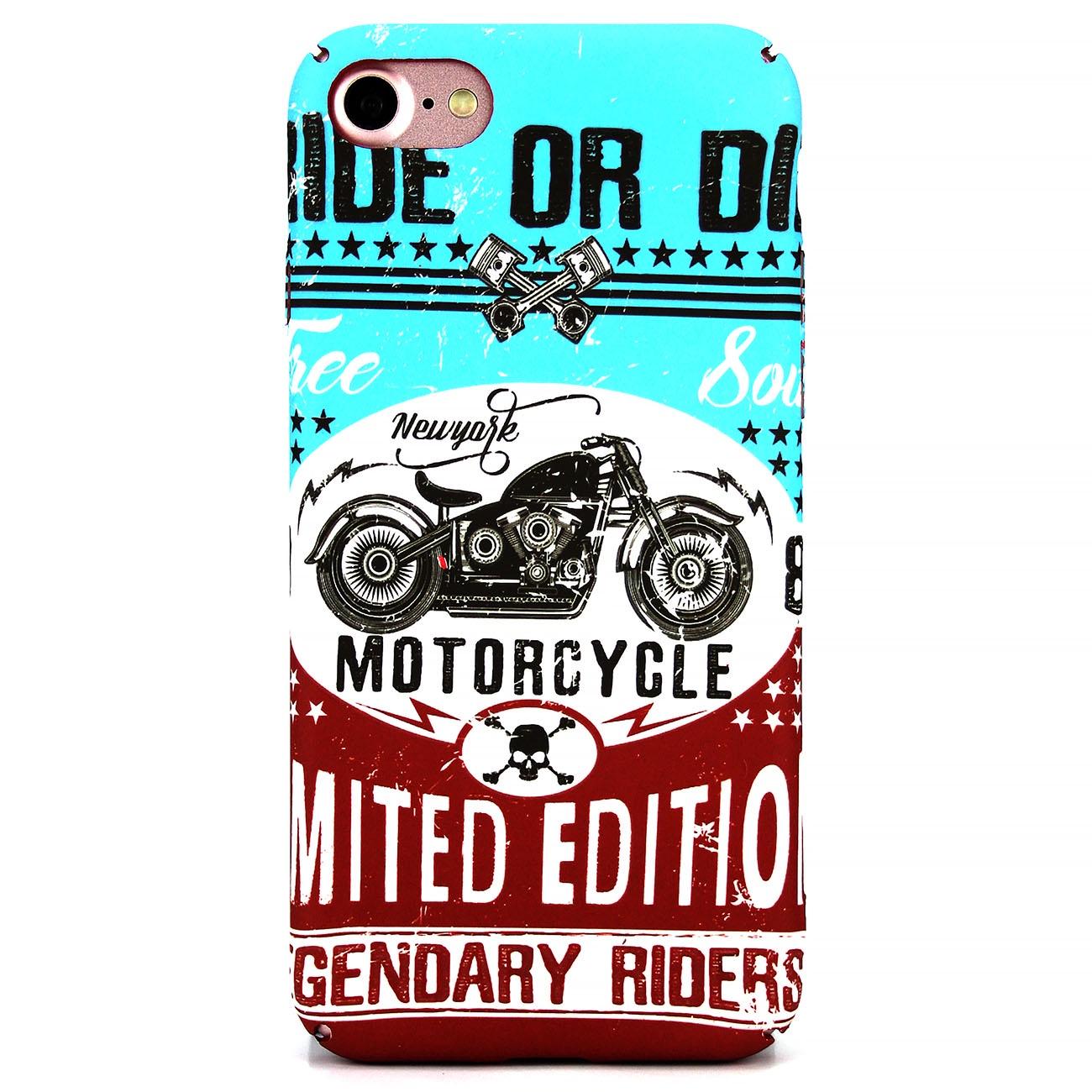 Чехол для сотового телефона MI,BS iPhone 7/8 Motorcycle, голубой, бордовый, белый