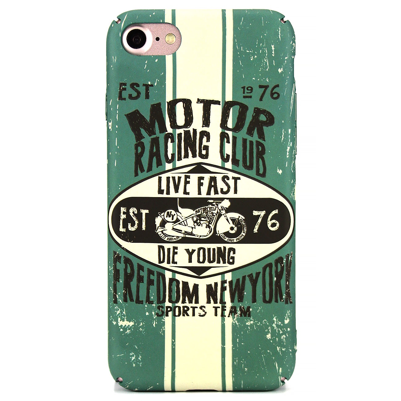 Чехол для сотового телефона MI,BS iPhone 7/8 Racing Club, темно-зеленый, бежевый, бирюзовый